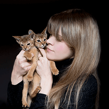 Owner of a cattery with abyssinian kittens